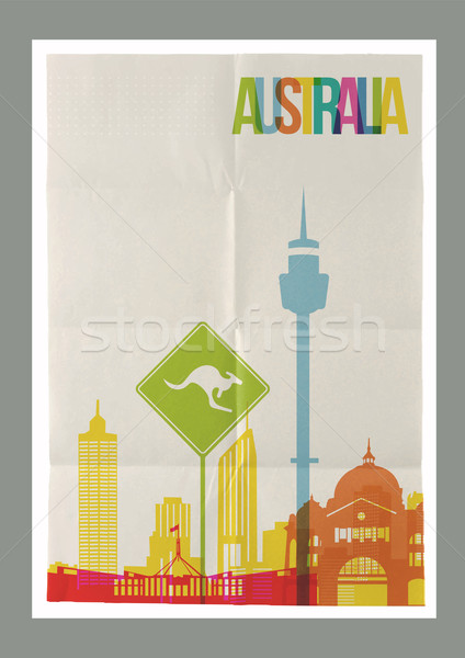 Travel Australia landmarks skyline vintage poster Stock photo © cienpies