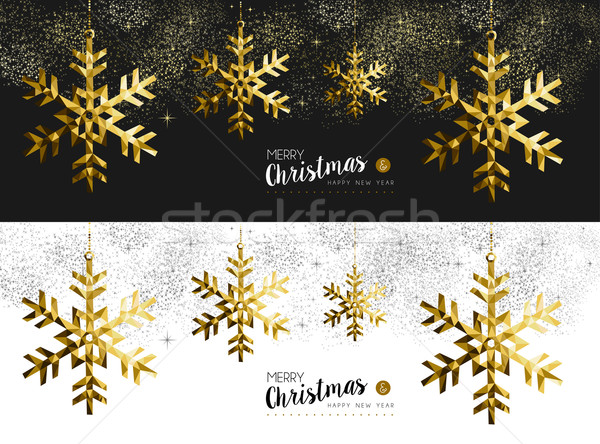 Merry christmas new year social media banner gold Stock photo © cienpies