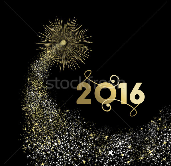 New Year 2016 gold firework explosion card Stock photo © cienpies