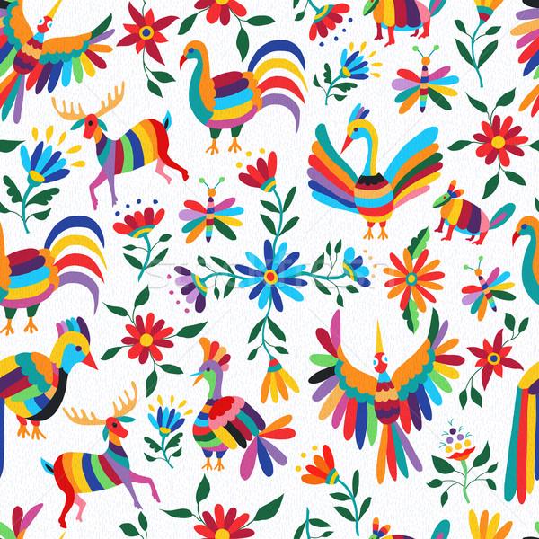 メキシコ料理 芸術 パターン 動物 花 伝統的な ストックフォト © cienpies