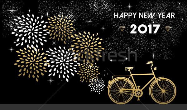 Nieuwjaar goud fiets viering gelukkig nieuwjaar Stockfoto © cienpies