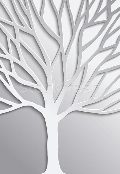 Paper cut tree 3d concept design for nature help Stock photo © cienpies