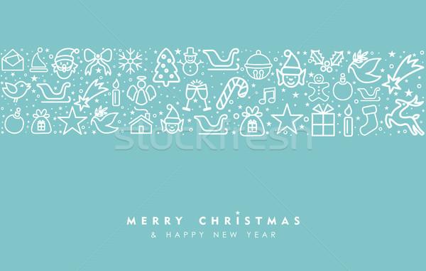 Natale capodanno line arte icona biglietto d'auguri Foto d'archivio © cienpies