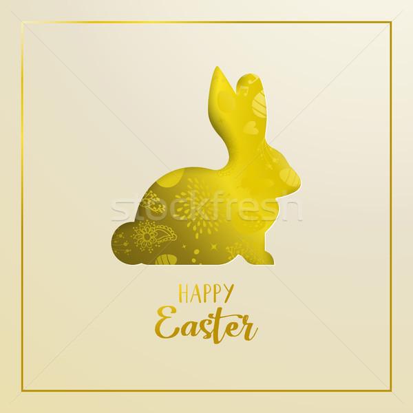 Kellemes húsvétot kártya arany kivágás nyúl üdvözlet Stock fotó © cienpies