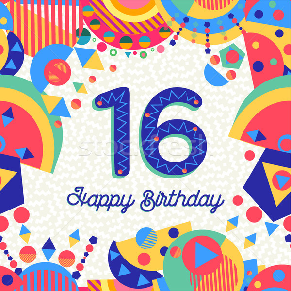 Sixteen 16 year birthday greeting card number Stock photo © cienpies