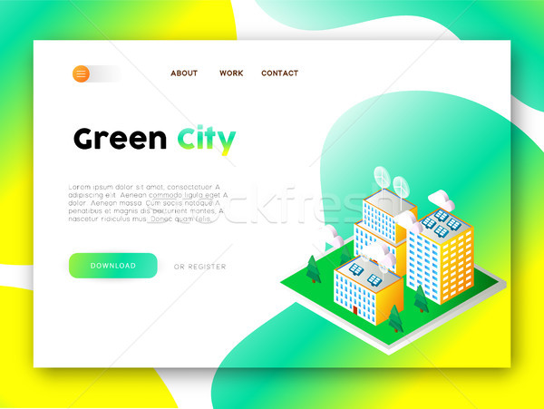 Stock photo: Green city eco friendly web app landing page