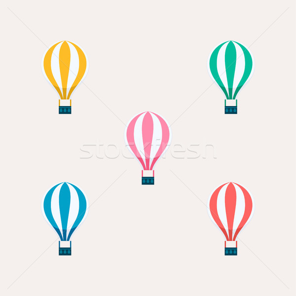 Hot air balloon color set isolated  Stock photo © cienpies