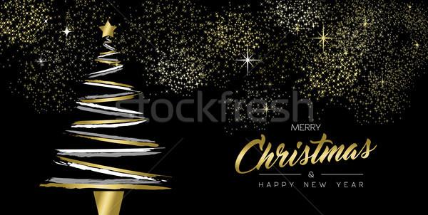 Рождества Новый год золото щетка сосна карт Сток-фото © cienpies