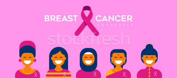 Breast Cancer Care diverse girl group for support Stock photo © cienpies