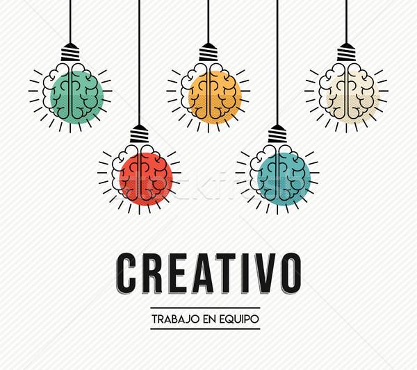 Creativa trabajo en equipo ideas espanol diseno moderna Foto stock © cienpies
