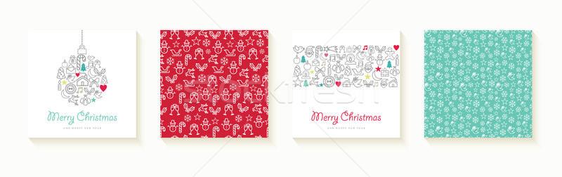 Foto d'archivio: Natale · capodanno · contorno · icona · carta · set