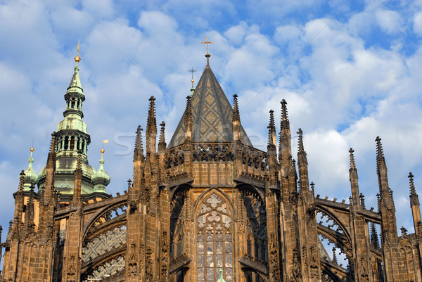 哥特式 教會 塔 上 天空 商業照片 © cienpies