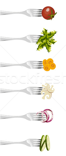 Forks and vegetables.  Stock photo © cienpies