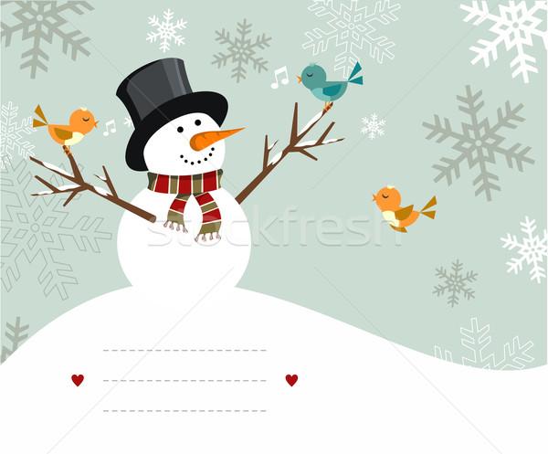 Sneeuwpop kaart vogels illustratie lijnen schrijven Stockfoto © cienpies