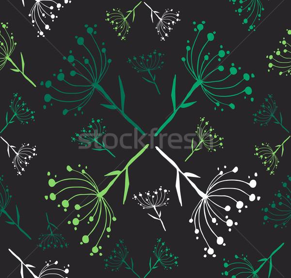 Tarassaco modello di fiore verde nero Foto d'archivio © cienpies