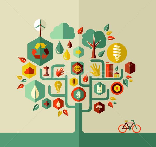 Eco duurzaam leven boom behoud stad Stockfoto © cienpies