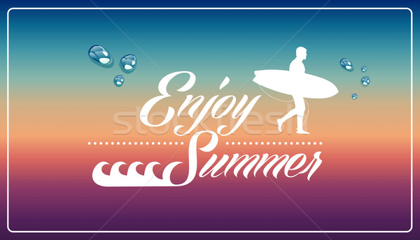 Retro summertime vacations poster. Stock photo © cienpies