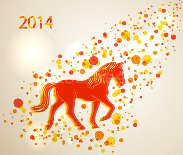 Photo stock: Cheval · 2014 · marche · rouge · orange