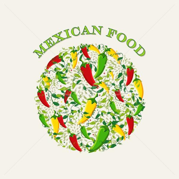 Comida mexicana ilustración colorido chile círculo forma Foto stock © cienpies