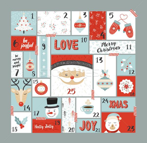 Рождества приход календаря Cute украшение Элементы Сток-фото © cienpies