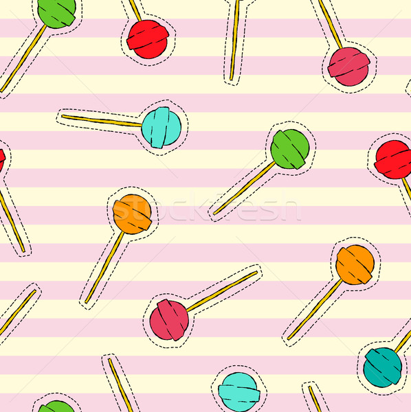 Candy lollipop art stitch patch background  Stock photo © cienpies