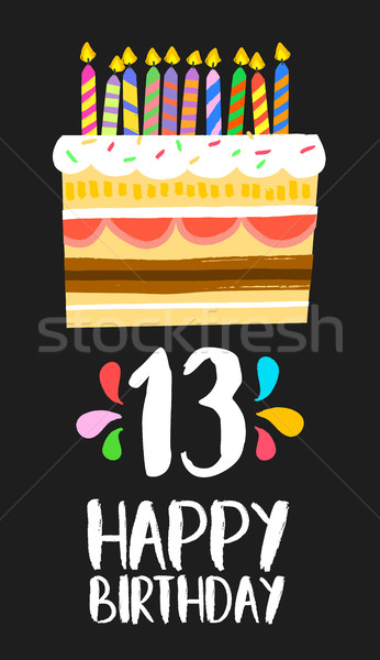 Happy Birthday cake card 13 thirteen year party Stock photo © cienpies