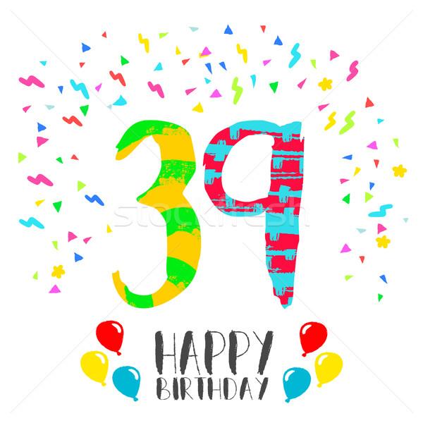 Foto stock: Feliz · cumpleaños · año · tarjeta · número · tarjeta · de · felicitación