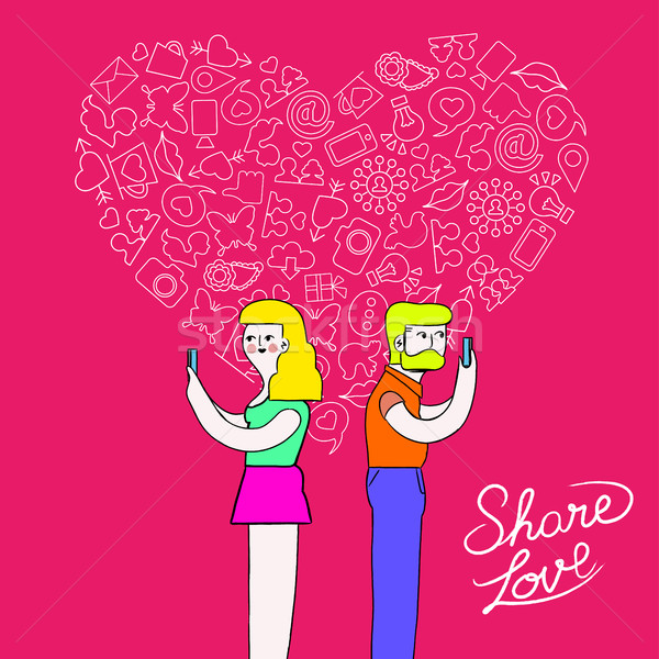 Man and woman internet love concept illustration Stock photo © cienpies