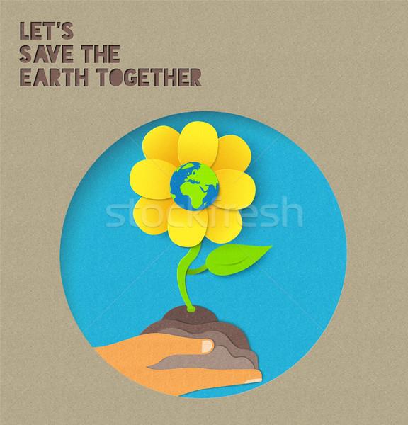Boldog föld napja papír természet illusztráció idézet Stock fotó © cienpies