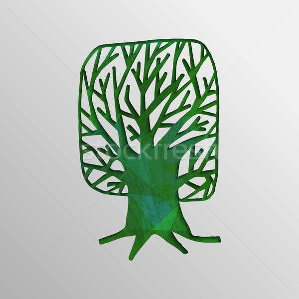 Green 3d tree cutout design concept of nature help Stock photo © cienpies