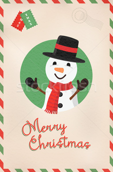 Merry Christmas vintage cute snowman postcard Stock photo © cienpies