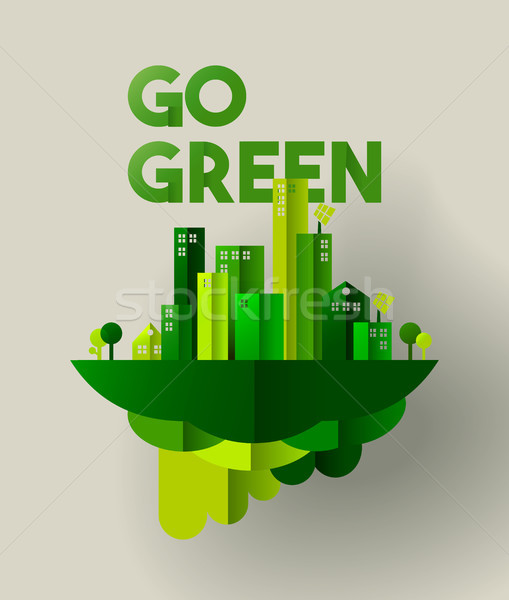 Green city paper cut concept for environment care Stock photo © cienpies