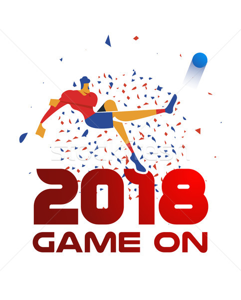 2018 sport event illustration with soccer player Stock photo © cienpies