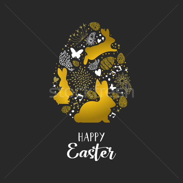 Happy Easter gold glitter card of rabbits and eggs Stock photo © cienpies