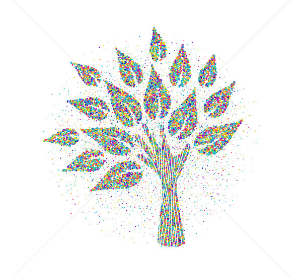 Human hand tree made of colorful particles Stock photo © cienpies