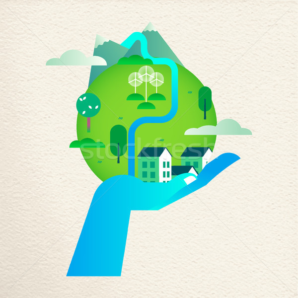 Save the earth concept with human hand helping Stock photo © cienpies