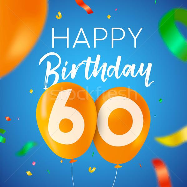 Happy birthday 60 sixty year balloon party card Stock photo © cienpies