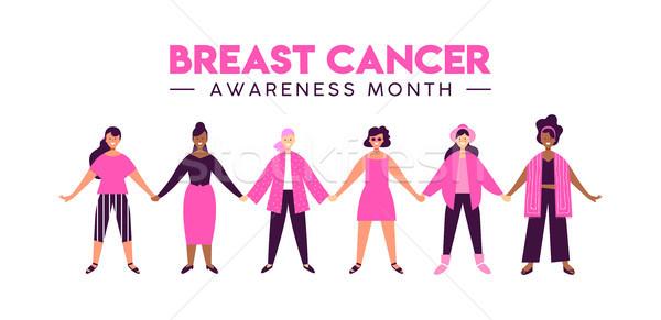 Rak piersi świadomość różnorodny dziewczyna przyjaciela grupy Zdjęcia stock © cienpies