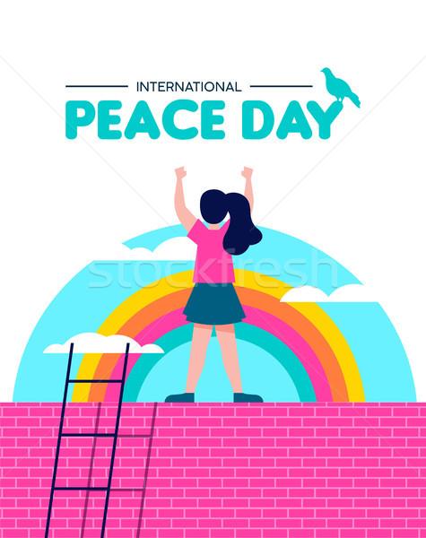 мира день иллюстрация Мир детей свободу Сток-фото © cienpies
