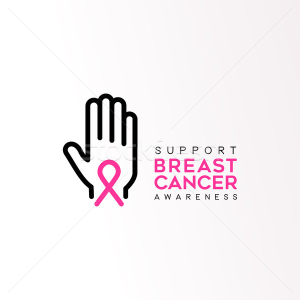 Breast Cancer care pink ribbon support text quote Stock photo © cienpies