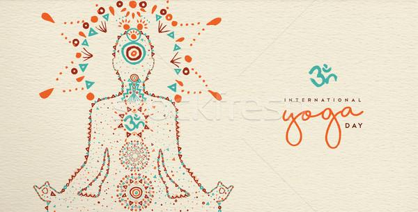 Yoga day web banner of lotus pose meditation Stock photo © cienpies