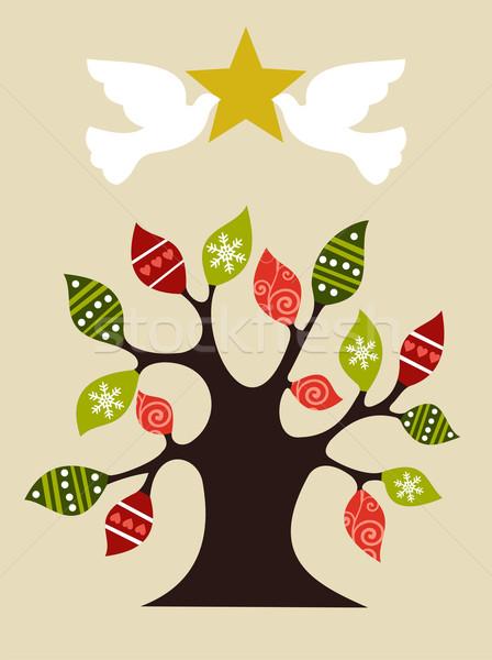 Béke szeretet karácsonyfa terv ötlet iram Stock fotó © cienpies