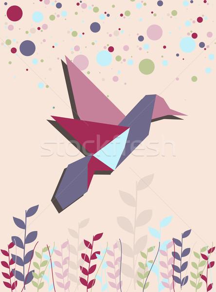 Origami Kolibri rosa ein Farben Porträt Stock foto © cienpies