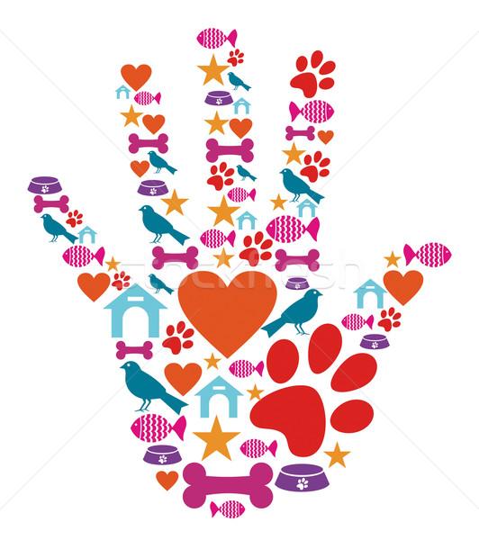 Pet animal protective hand icon set Stock photo © cienpies
