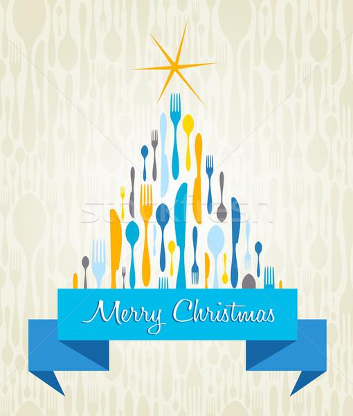 рождественская елка приборы карт вилка ложку Сток-фото © cienpies