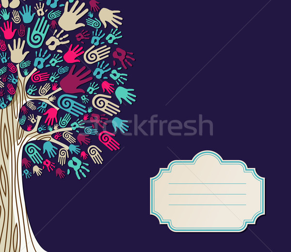 Diversité arbre mains carte de vœux illustration texte Photo stock © cienpies