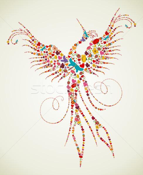 Spring Pheonix bird texture Stock photo © cienpies