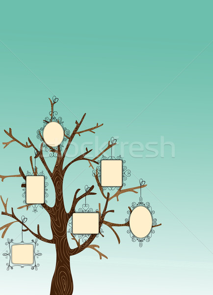 Vintage Picture frames tree Stock photo © cienpies