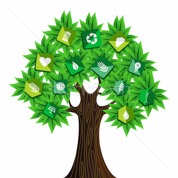 Green resources concept tree Stock photo © cienpies