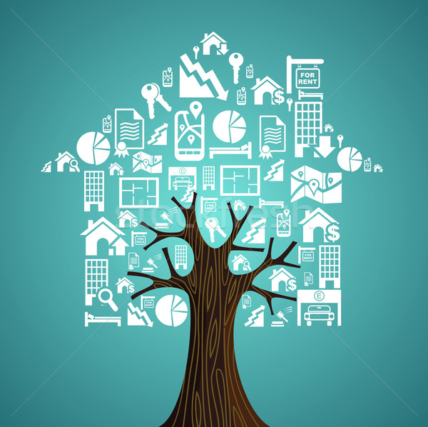 Real estate icons tree house. Rental concept. Stock photo © cienpies